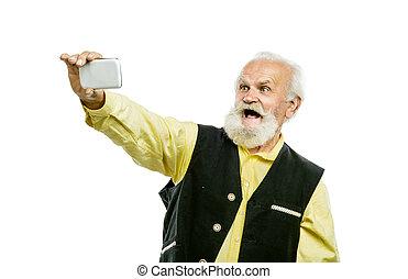 barbudo, viejo, móvil, aislado, teléfono, hombre
