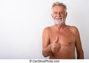 barbuto, abbandono, mentre, pollici, uomo sorridente, anziano, felice