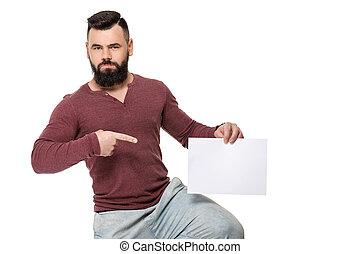 barbuto, bianco, card., presa a terra, uomo