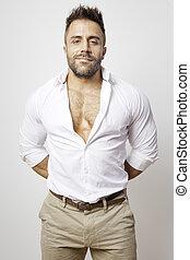 barbuto, camicia aperta, uomo