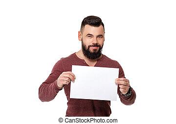 barbuto, card., presa a terra, bianco, bello, uomo