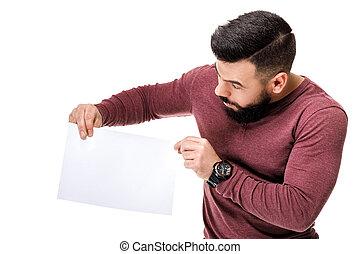 barbuto, card., presa a terra, bianco, vuoto, uomo