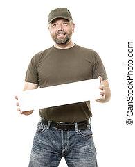 barbuto, cartoncino bianco, uomo