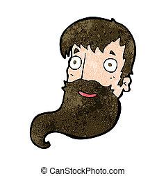barbuto, cartone animato, uomo