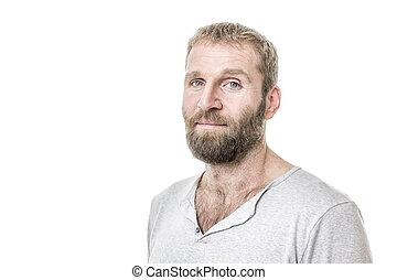 barbuto, casuale, uomo