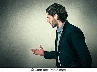 barbuto, espressione, arrabbiato, uomo