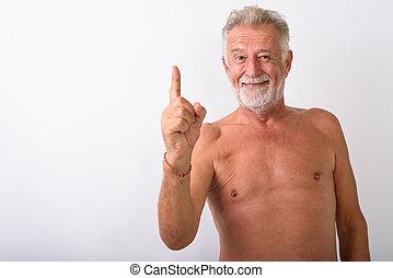 barbuto, indicare, mentre, dito, uomo sorridente, anziano, felice