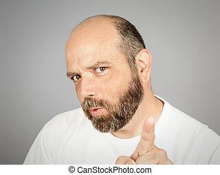 barbuto, indicare, uomo