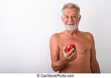 barbuto, mela, mentre, presa a terra, uomo sorridente, anziano, rosso, felice