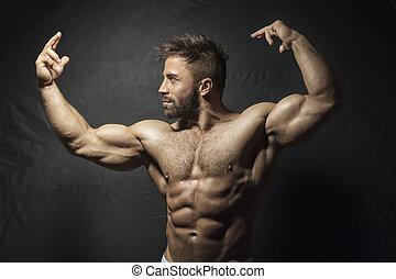 barbuto, muscolare, uomo