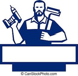 barbuto, paintroller, uomo tuttofare, cordone, retro,...