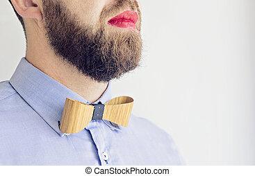 barbuto, rossetto, labbra, adulto, rosso, uomo