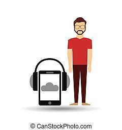 barbuto, smartphone, cuffie, musica, linea, tipo