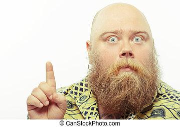 barbuto, sorpreso, su, indicare, uomo