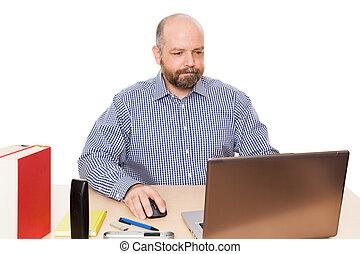 barbuto, ufficio, uomo
