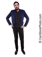 barbuto, uomo blu, sorridente, giacca