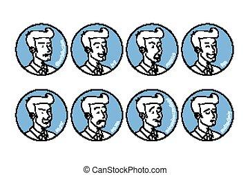 barbuto, vettore, emoji., impiegato, differente, illustrazione, stile, emotions., uomo affari, cartone animato, uomo