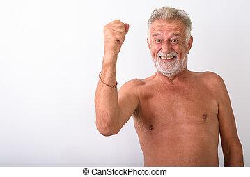 barbuto, vincitore, elevato, anziano, uomo sorridente, braccio, felice