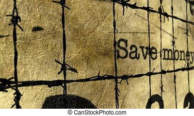 barbwire, argent, concept, sauver