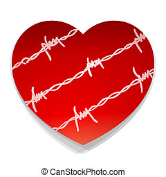 barbwire, coeur, amour