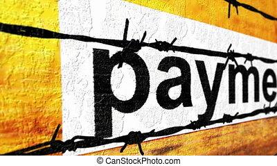 barbwire, etichetta, pagamento, contro