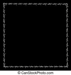 Barbwire Frame Square Border Black - Barbwire forming a...