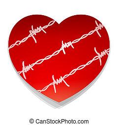 barbwire, hjärta, kärlek