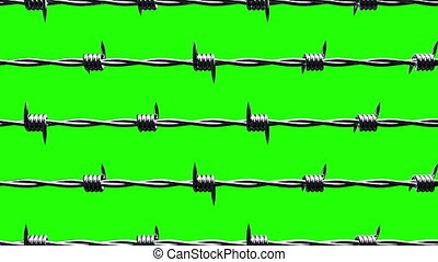 Barbwire on green chroma key. Loop able 3DCG render ...