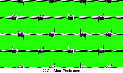 Barbwire on green chroma key.Loop able 3DCG render...