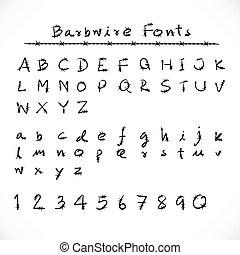 barbwire, style., alfabeto, mordaz, fuente, número, fonts., alambre