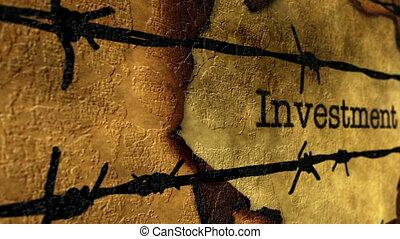 barbwire, texte, investissement, contre