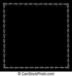 barbwire, umrandungen, rahmen, quadrat, schwarz