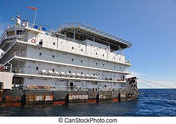 barcaça, e, barco puxão, em, mar aberto