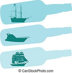 barca, bottiglia, illustrazione