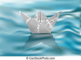 barca carta, su, acqua
