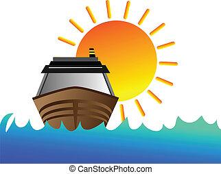 barca, con, sole