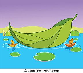 barca, foglia, fondo