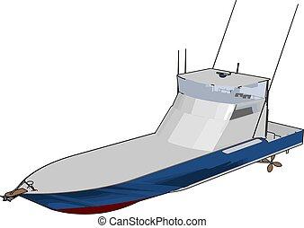 barca, illustrazione, fondo., vettore, modello, velocità, bianco