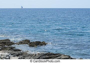 barca, marinaio, terra, mare, minimo
