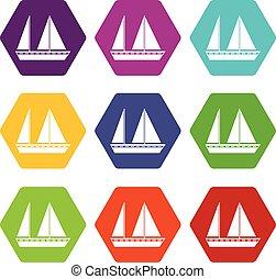 barca naviga, icona, set, colorare, hexahedron