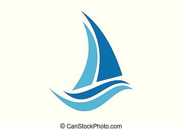 barca naviga, logotipo, vettore, icona