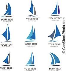 barca naviga, logotipo, vettore