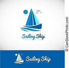 barca naviga, nave, yacht, logotipo