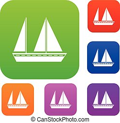 barca naviga, set, collezione