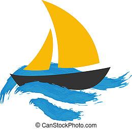 barca naviga, su, il, acqua