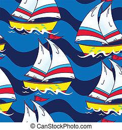 barca naviga, su, il, mare, seamless, modello