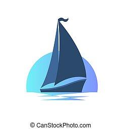 barca naviga, su, il, onde, a, sunset.