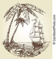 barca naviga, su, mare, e, isola tropicale, destinazione