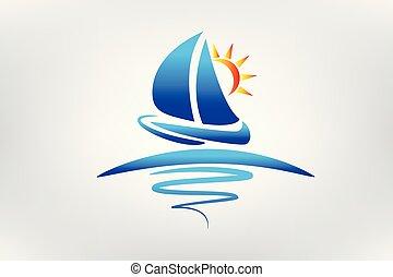 barca, onde, e, sole, logotipo, vettore