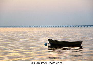barca remi, a, tramonto